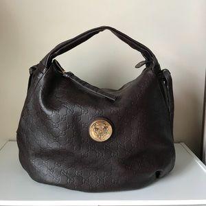 Authentic Gucci Guccissima Hobo Bag in dark brown